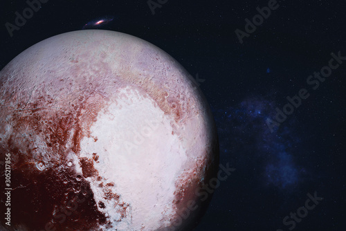 Photo Planet Pluto of Solar system Visible side in space with far galaxy on the background