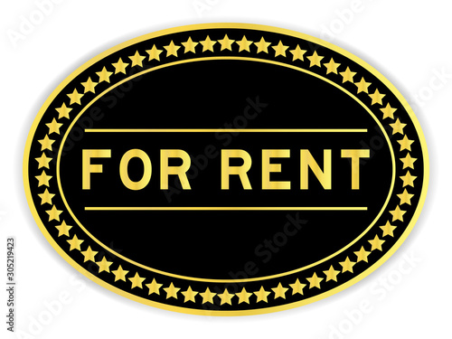 Photo Black and gold color oval sticker with word for rent on white background