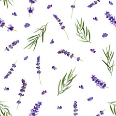 Naklejka Kwiaty The seamless pattern in a Provence style with lavender flowers and leafed branches hand drawn in watercolor isolated on a white background. Watercolor floral background. Ideal for wallpaper or fabric.