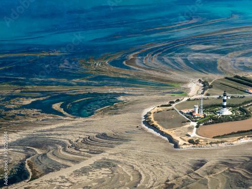 vue aérienne du phare de Chassiron sur l'île d'Oléron en France Canvas Print