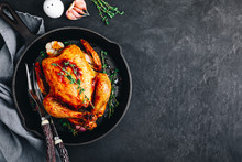 Grilled Fried Roasted Whole Chicken In Cast Iron Pan