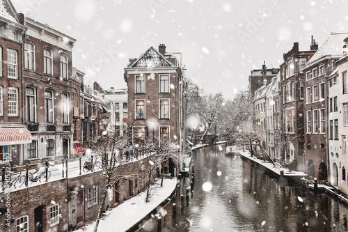 Utrecht winter snowfall view