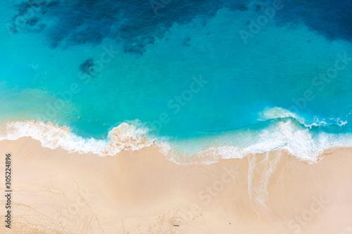 Canvas Prints Countryside Klingung sand beach with sky blue ocean water of Aerial view. Klingung beach is apart of one day traval trip of the eastern in Nusa Penida island , Klingung regency, Bali Island, Indonesia