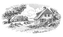 House In Countryside Engraving...