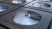 Group Of HVAC Units With Fans ...