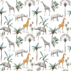 Watercolor vector seamless patterns with safari animals and palm trees. Eleph...