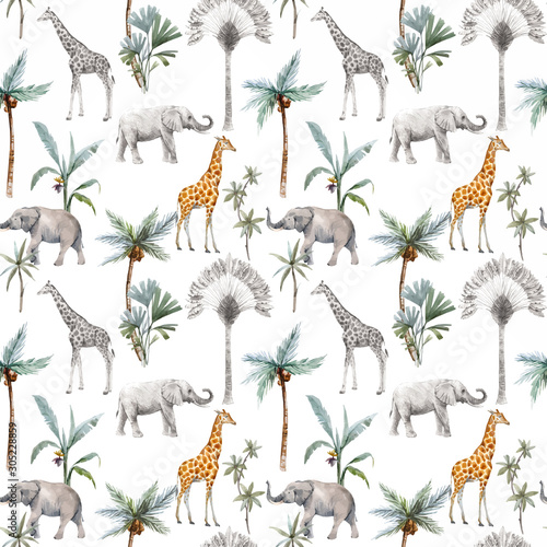 Watercolor vector seamless patterns with safari animals and palm trees Wallpaper Mural