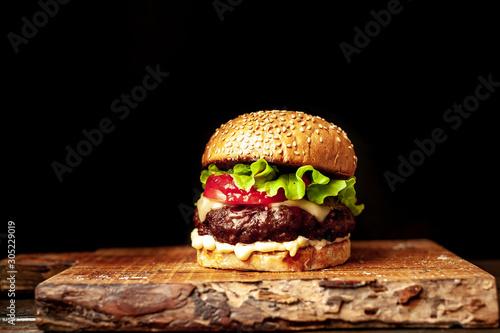 grilled burger on a stone background Billede på lærred
