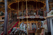 Carousel With Horses. Ornate V...