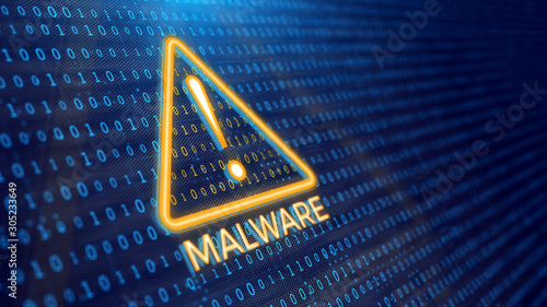 Fotografía Detecting malware program concept - binary code and malware warning
