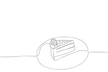 Continuous Line Sweet Strawberry Cake Hand Drawn Simple Line