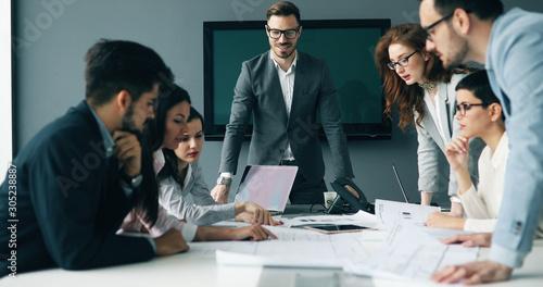Cuadros en Lienzo Corporate teamworking colleagues in modern office
