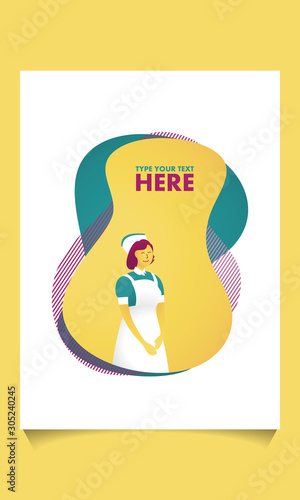 Fototapeta Professional Nurse Character in Medical Hospital on abstract background, Health Care and Doctor Woman. Flat Cartoon Vector Illustration in Colored Style. Abstract banner with liquid shapes. obraz na płótnie