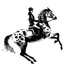 Hand Drawing Horseback Rider A...