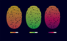 Fingerprints. Cyber Security Concept. Digital Security Authentication Concept. Biometric Authorization. Identification. Vector Illustration Of The Fingerprint Of Different Colors On A Black Background