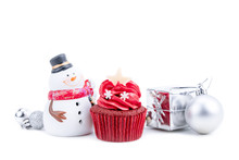Merry Christmas And Happy New Year With Red Cupcake And Snowman Statuette