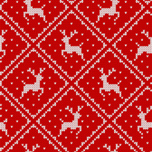 Knit Christmas Pattern. Red Seamless Print. Vector Illustration.