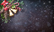 canvas print picture - Background with Christmas bells, fir tree, pine cones and holiday decoration
