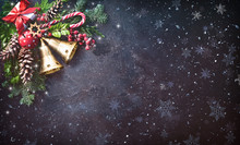 Background With Christmas Bells, Fir Tree, Pine Cones And Holiday Decoration