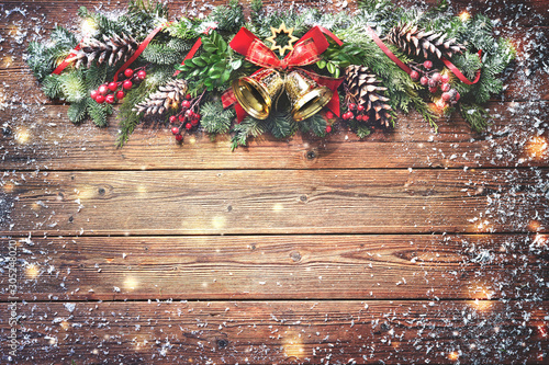 Recess Fitting India Christmas background with bells, fir tree and decoration on dark wooden