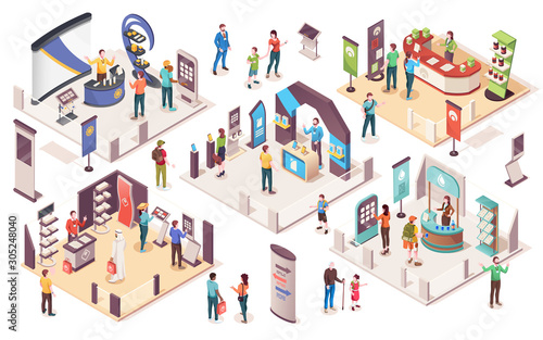 Fotografia People at expo or business exhibition, vector isometric icons