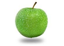 Green Apple On White Background, Fresh Natural Fruit