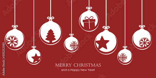 red christmas card with bauble decoration snowflakes stars and gift vector illus Canvas Print