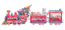 Watercolor Steam Train With Ch...
