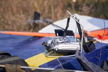 Radio Remote Control Lies Near Model Of Rocket Plane.