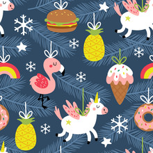 Seamless Pattern For Christmas Holiday With Cute Ornaments.