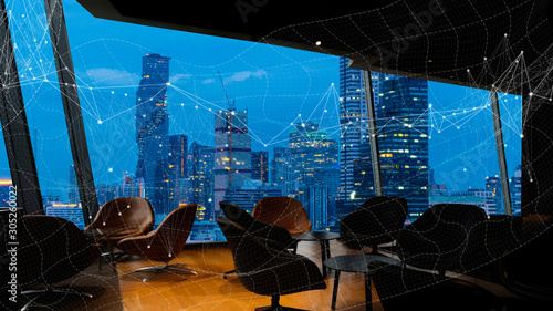 Bangkok city view point from Lounge interior Wallpaper Mural