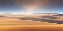 Sand Dunes And Dust Storm In The Desert, Hot And Dry Desert Landscape