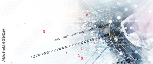 Fototapeta internet digital security technology concept for business background. Lock on circuit board obraz