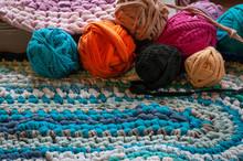 Pink Homemade Rag Rug.
