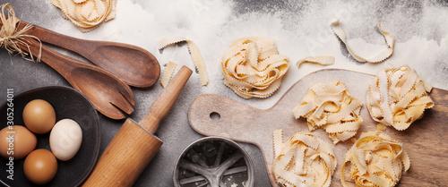 Homemade pasta making Canvas Print