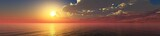 Fototapeta Fototapety z morzem do Twojej sypialni - panorama of the ocean sunset, sea sunset, the sun in the clouds over the water, 3D rendering