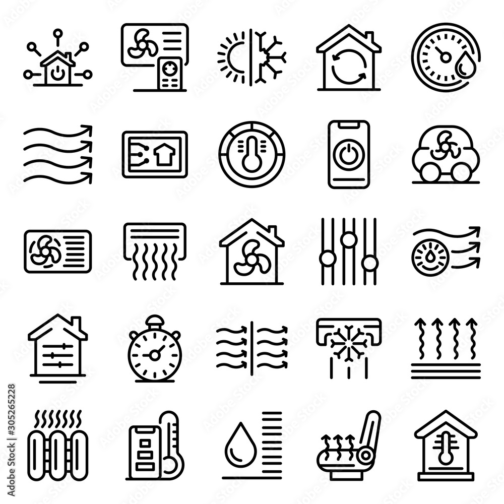 Fototapeta Climate control systems icons set. Outline set of climate control systems vector icons for web design isolated on white background