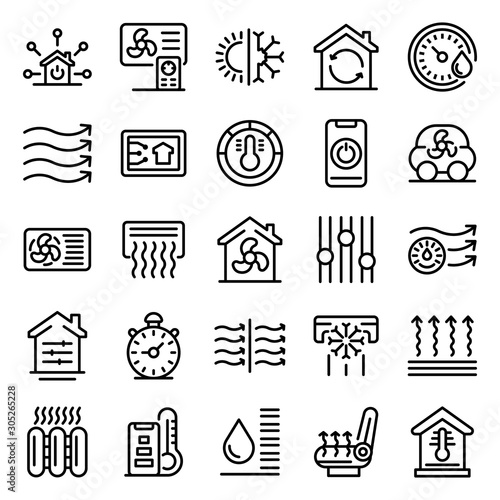 Cuadros en Lienzo Climate control systems icons set