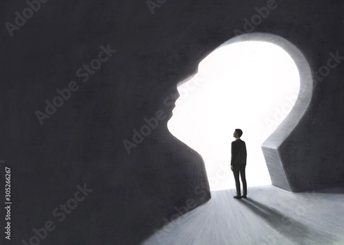 Photo Freedom success hope ambition concept, surreal scene businessman looking at the