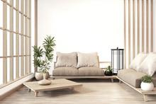 Interior Design,zen Modern Living Room Japanese Style.3D Rendering