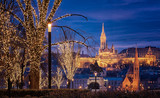Fototapeta Fototapety Paryż - View on the famous Fishermen's Bastion in Budapest in winter with christmas lights