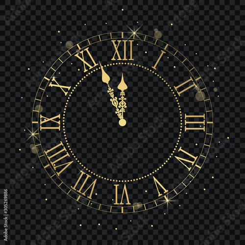 Gold vintage clock with Roman numeral and countdown midnight, eve for New Year Canvas Print