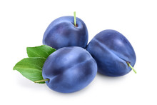 Fresh Blue Plum With Leaves Isolated On White Background