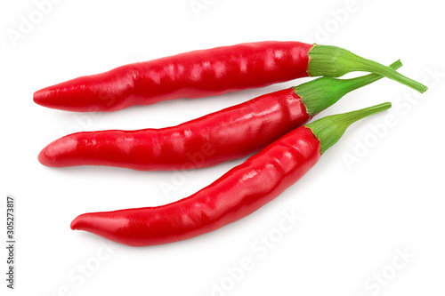 Foto op Aluminium Hot chili peppers red hot chili peppers isolated on white background. Top view. Flat lay.