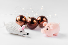 New Year And Christmas Background With Pig And Rat - Symbol Of The Year