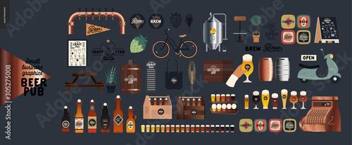Brewery, craft beer pub -small business graphics - pub elements -modern flat vec Wallpaper Mural