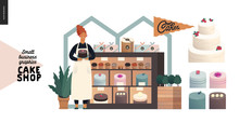 Cake Shop, Cakes On Demand - Small Business Graphics - Owner At The Display -modern Flat Vector Concept Illustrations - A Baker At The Display With A Range Of Cakes, Pastries, Tarts And Cupcakes