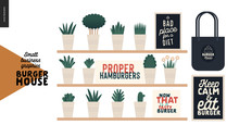 Burger House - Small Business Graphics - Restaurant Elements -modern Flat Vector Concept Illustrations - Shelves With Plants In Pots, Burger Quotation Posters, Branded Tote Bags