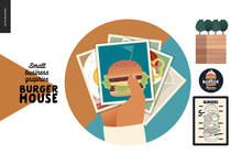 Burger House -small Business Graphics - Gallery Icon -modern Flat Vector Concept Illustrations -web Badge With Food Photos In The Hand, Menu Poster, Logo, Plants In The Wooden Box