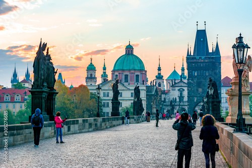 Charles Bridge (Karluv Most) and Prague architecture at sunrise, Czech Republic Wallpaper Mural